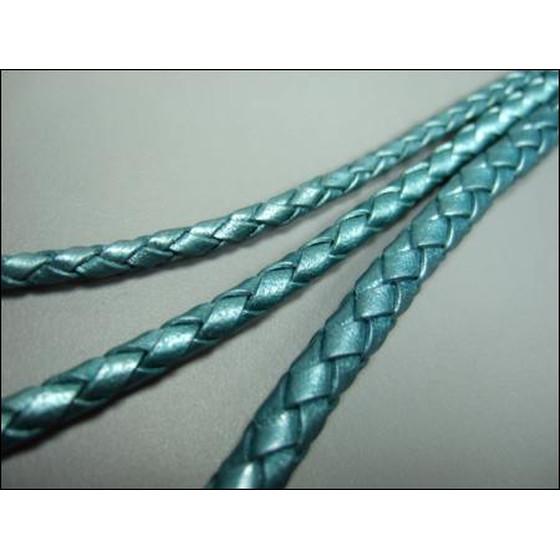 hot sale online f3c68 340ec Lederband rund geflochten Ø2,5mm - petrol (metallic)