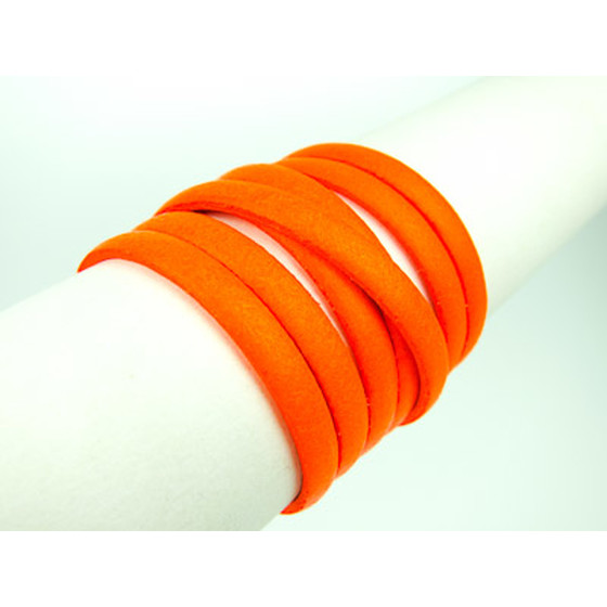 Flaches Lederband 5,0x2,0mm - neon orange