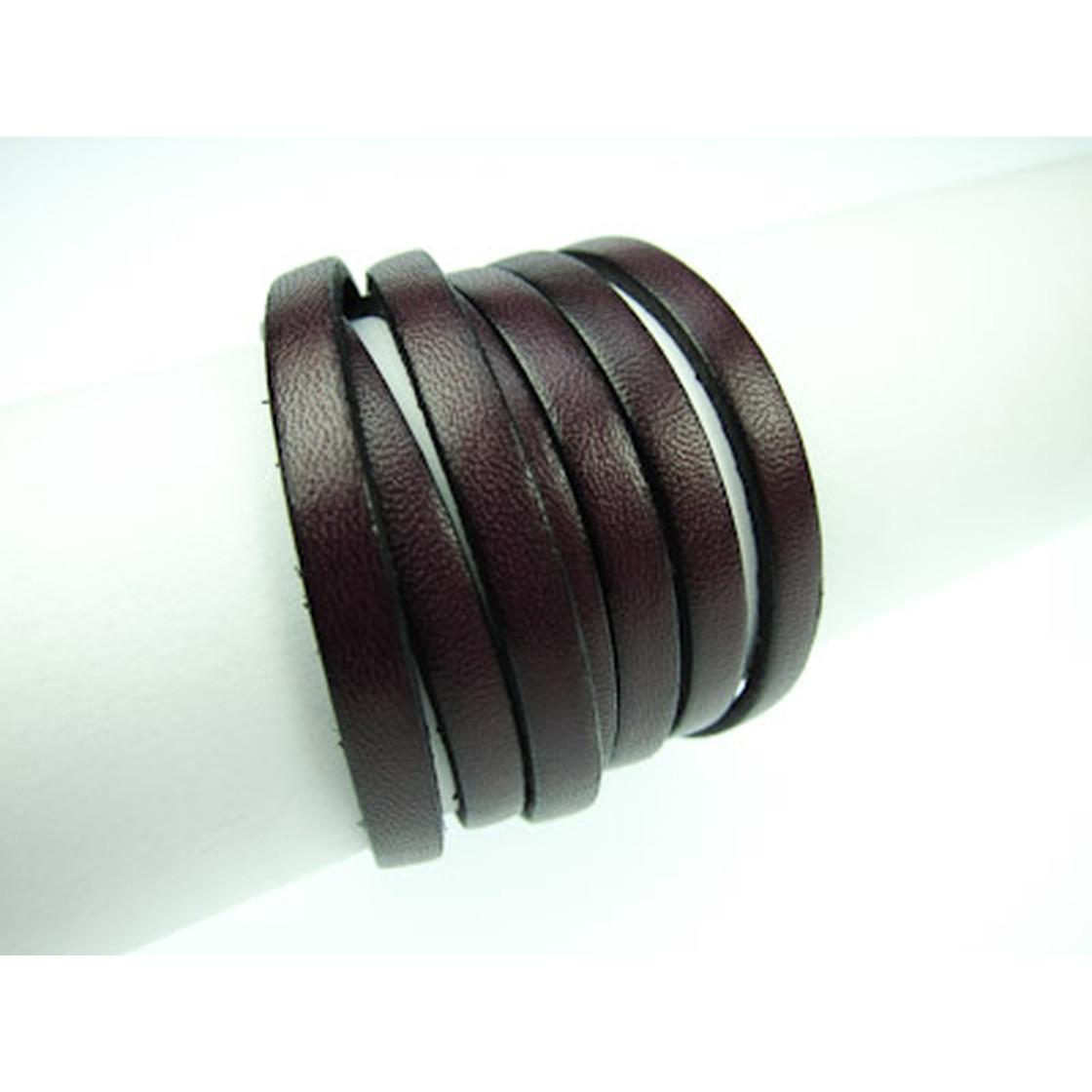 10x2mm Hochwertiges Rindleder schw. Rand 1m Flaches Lederband Mittelgrau